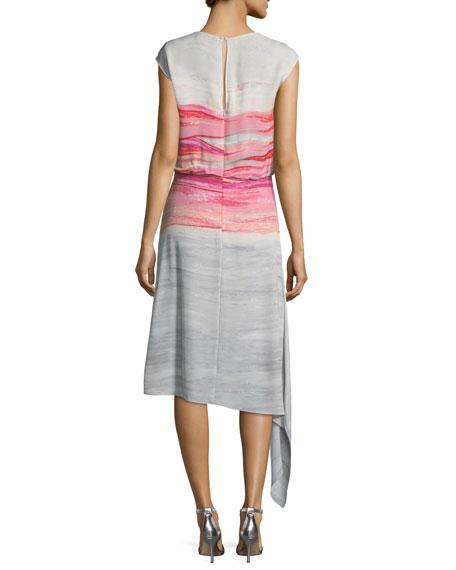 Brushstroke-Print Satin Silk Asymmetric Dress