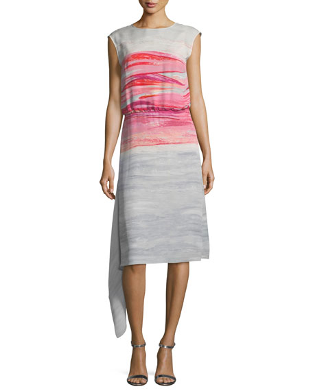 St. John Collection Brushstroke-Print Satin Silk Asymmetric Dress