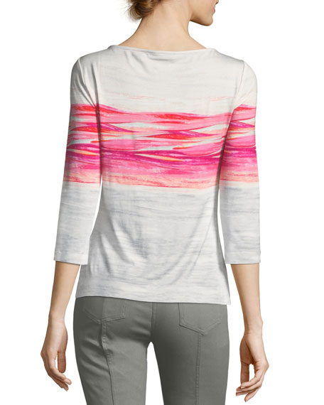 Textured Brushstroke Print Top