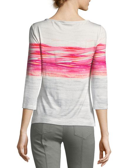 Textured Brushstroke Print Top