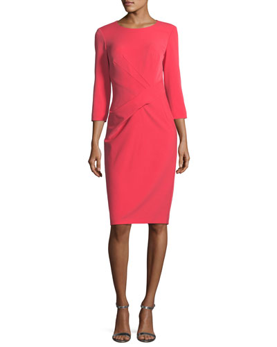 Jewel-Neck Stretch-Crepe Dress