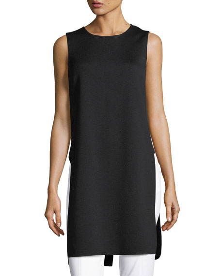 St. John Collection Sleeveless Silk-Panel Tunic
