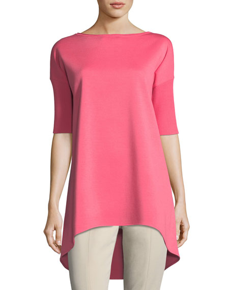 Milano Knit Half-Sleeve High-Low Tunic