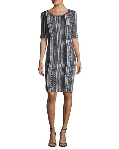 St. John Collection Vertical Striped Tweed Sheath Dress