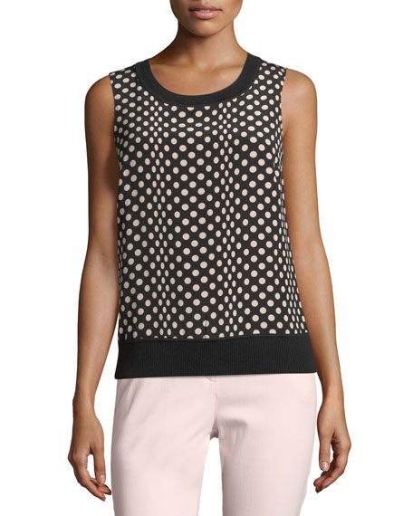 St. John Collection Sleeveless Dotted Silk-Front Shell