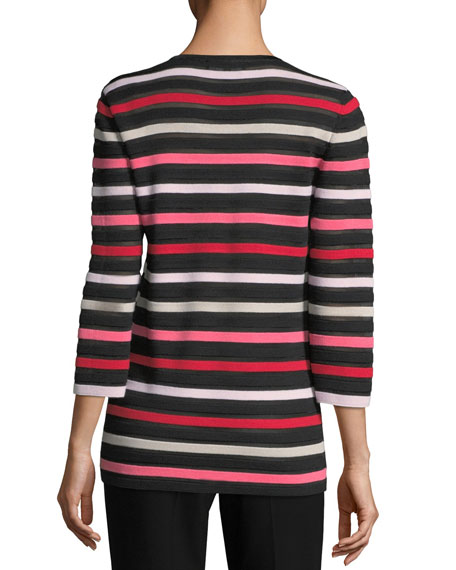 Ombre Color Stripe Knit Jewel-Neck 3/4-Sleeve Sweater