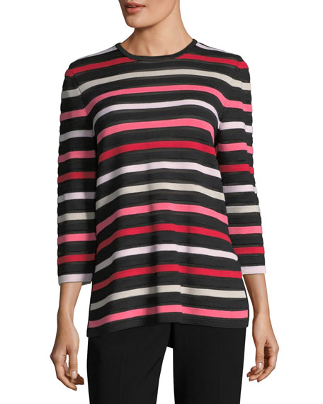 St. John Collection Ombre Color Stripe Knit Jewel-Neck
