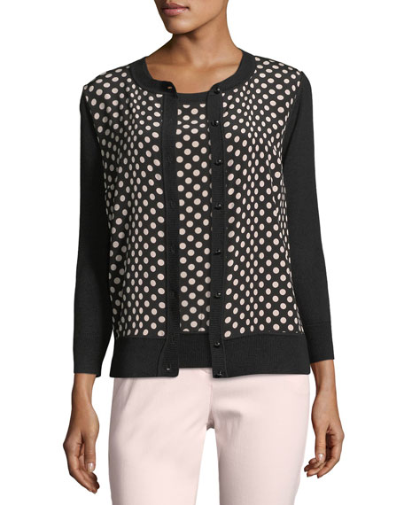 St. John Collection Dotted Silk Cardigan