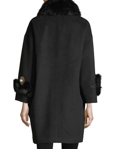 Anisa Fox and Rabbit Fur Combo Coat w/ Crystal Brooches