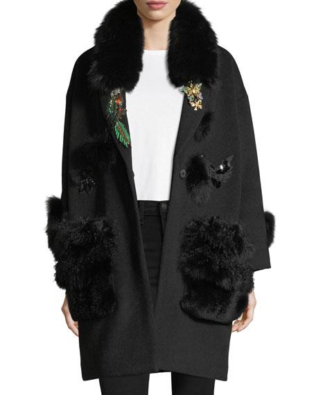Anisa Fox and Rabbit Fur Combo Coat w/ Crystal Brooches