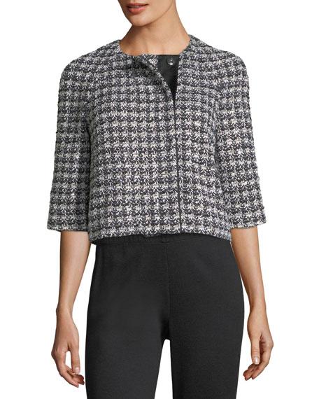 3/4-Sleeve Soft Plaid Jacket