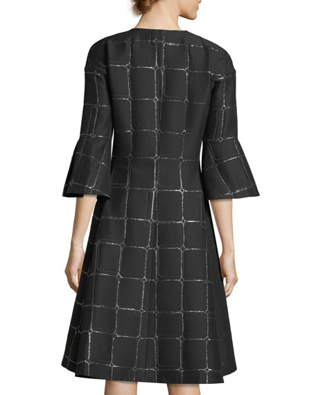 3/4-Sleeve Metallic Jacquard Jacket
