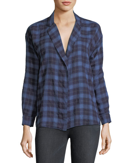 3x1 Moxy Plaid Cotton Wrap Shirt