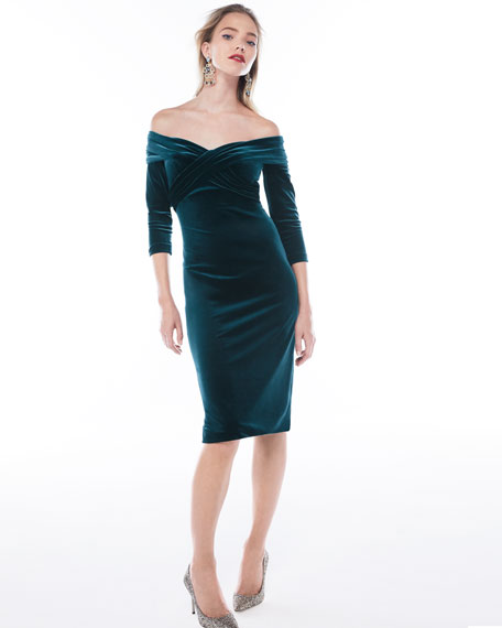 Draped Off-the-Shoulder Stretch-Velvet Cocktail Dress