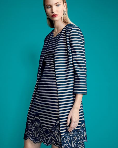 Striped A-Line Dress w/ Matching Jacket