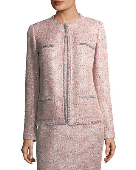 Metallic Tweed Jacket w/ Eyelash Trim