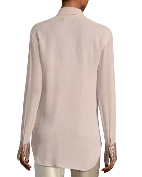 Crinkle Silk Georgette Blouse w/ Swarovski® Crystal Cuffs