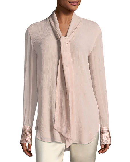 St. John Collection Crinkle Silk Georgette Blouse w/
