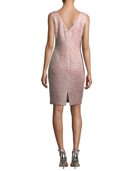 Metallic Eyelash-Knit Cocktail Sheath Dress