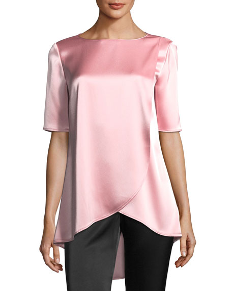 Liquid Satin Boat-Neck Blouse