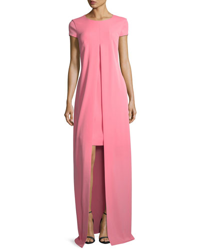 Split-Front Stretch-Crepe Gown