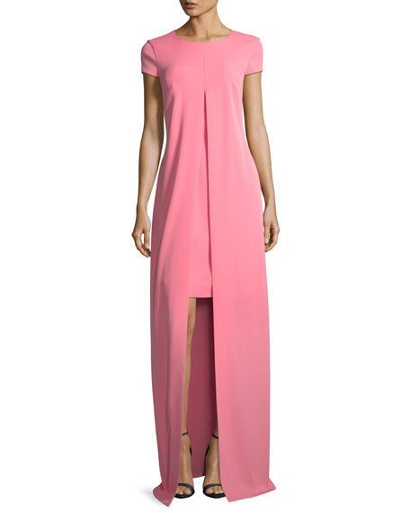 St. John Collection Split-Front Stretch-Crepe Gown