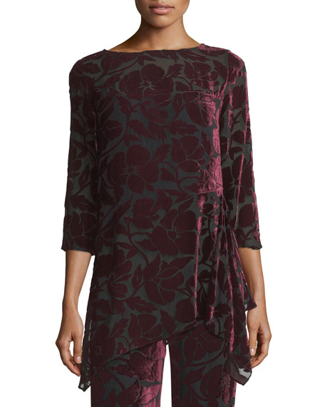 St. John Collection Velvet Floral Burnout Top and