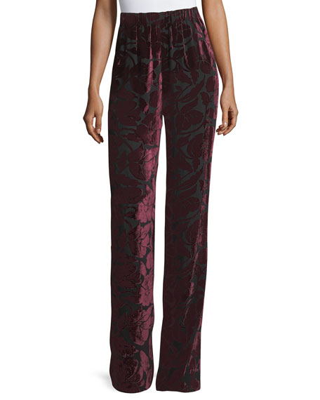 St. John Collection Velvet Floral Burnout Pant