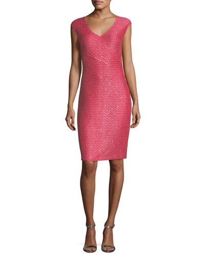 Hansh-Knit V-Neck Cocktail Dress