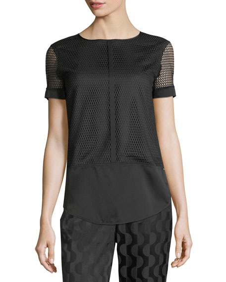 Circular Net Short-Sleeve Top