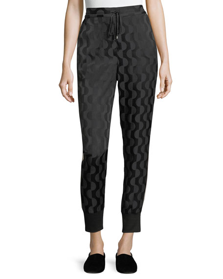 St. John Collection Geometric Charmeuse Jogger Pants