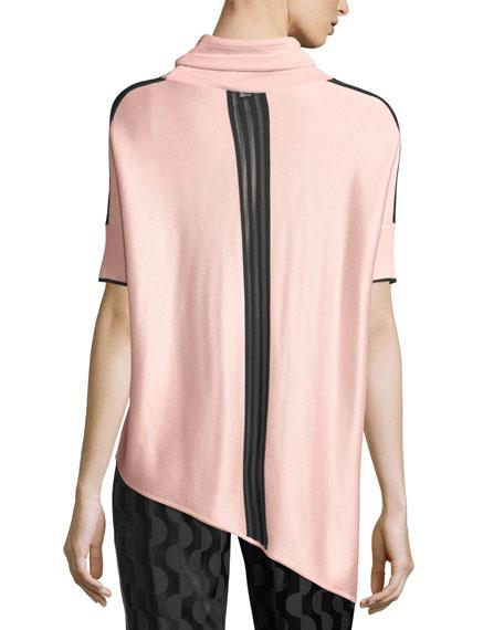 Birdseye Knit Funnel-Neck Asymmetric Sweater