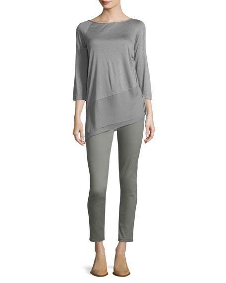 Sleek Jersey Asymmetric Blouse