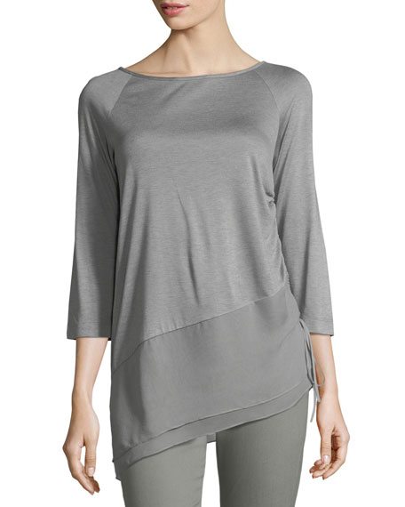 St. John Collection Sleek Jersey Asymmetric Blouse
