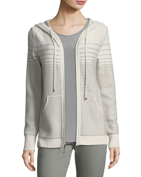 Cashmere-Blend Sequined Knit Bomber Jacket