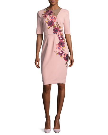 Floral-Embroidered 3/4-Sleeve Sheath Dress