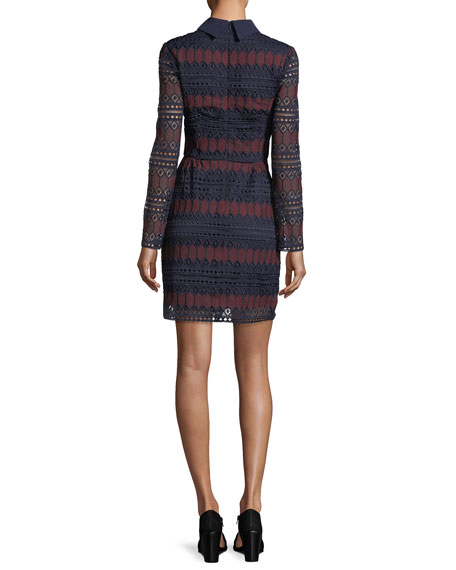 Long-Sleeve Keyhole Stripe Lace Cocktail Dress
