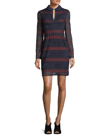 Trina Turk Long-Sleeve Keyhole Stripe Lace Cocktail Dress