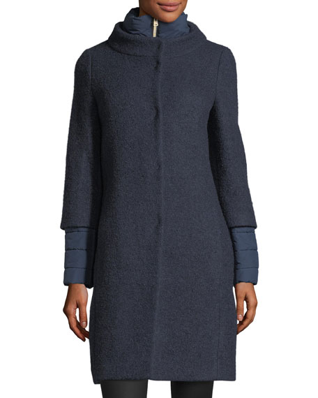 Long-Sleeve Button-Front Boucle Cocoon Coat
