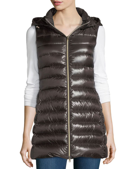 Herno Long Ribbed Fitted Zip-Front Vest w/ Removable