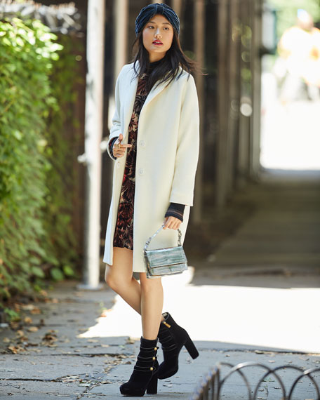 Notched-Collar Button-Front Wool Long Car Coat