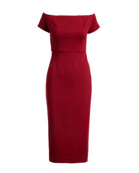 Off-the-Shoulder Ponte Sheath Cocktail Dress