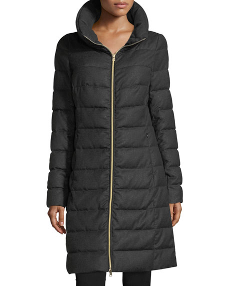 Herno Long-Sleeve Zip-Front Quilted Puffer Lurex® Coat