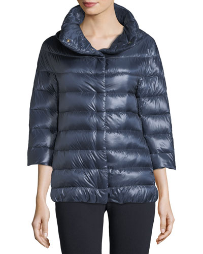 3/4 Sleeve Cocoon Quilted Puffer Coat
