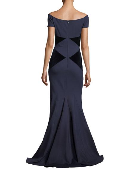 Off-the-Shoulder Velvet Column Evening Gown