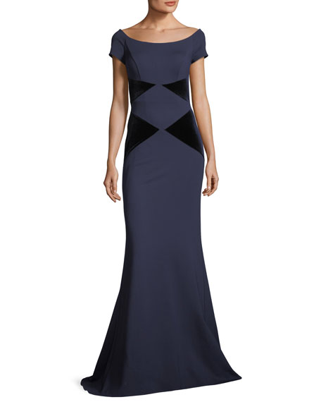 Jovani Off-the-Shoulder Velvet Column Evening Gown