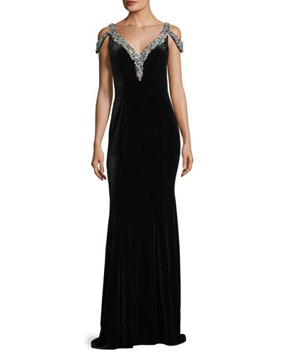 V-Neck Jeweled Velvet Evening Gown