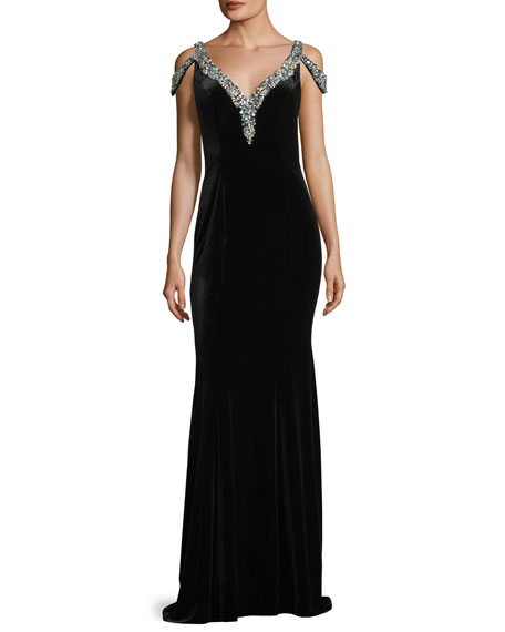 Jovani V Neck Jeweled Velvet Evening Gown Neiman Marcus