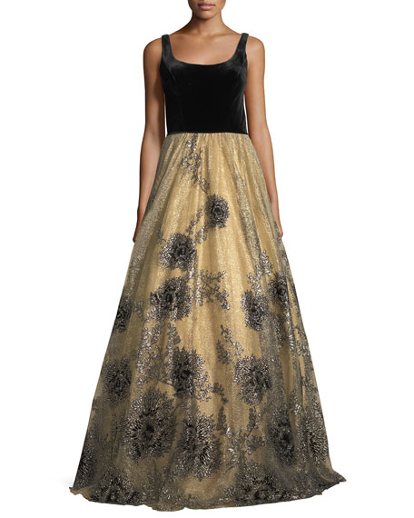 Jovani Sleeveless Scoop-Neck Velvet Beaded Tulle Evening Gown