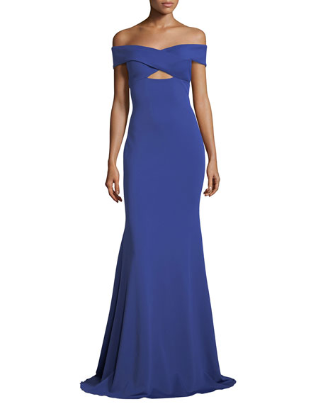 Jovani Off-the-Shoulder Crossover Stretch Crepe Evening Gown